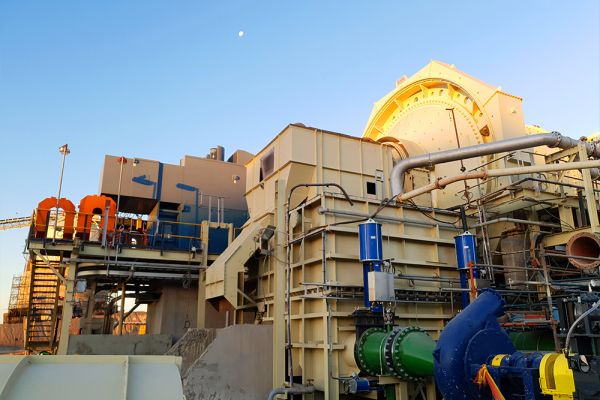 Ball mill with trommel screen and chute installed May '21