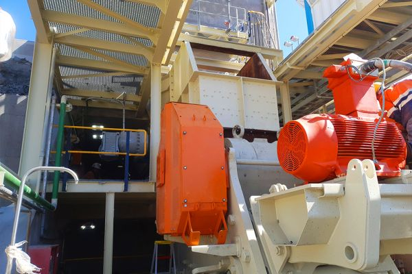 Boseto Primary Crusher with guards and feed chute in position mid May '21